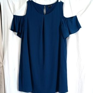 As U Wish navy cold shoulder midi dress plus 2X